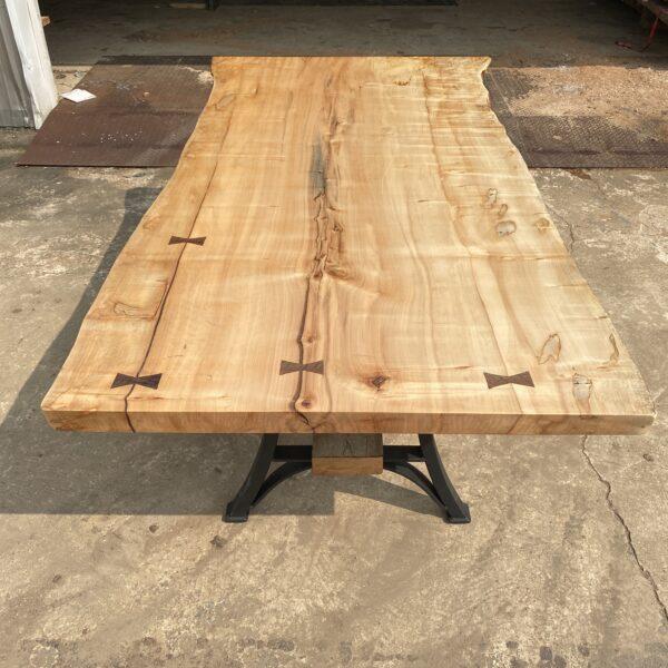 bowties on maple live edge slab table
