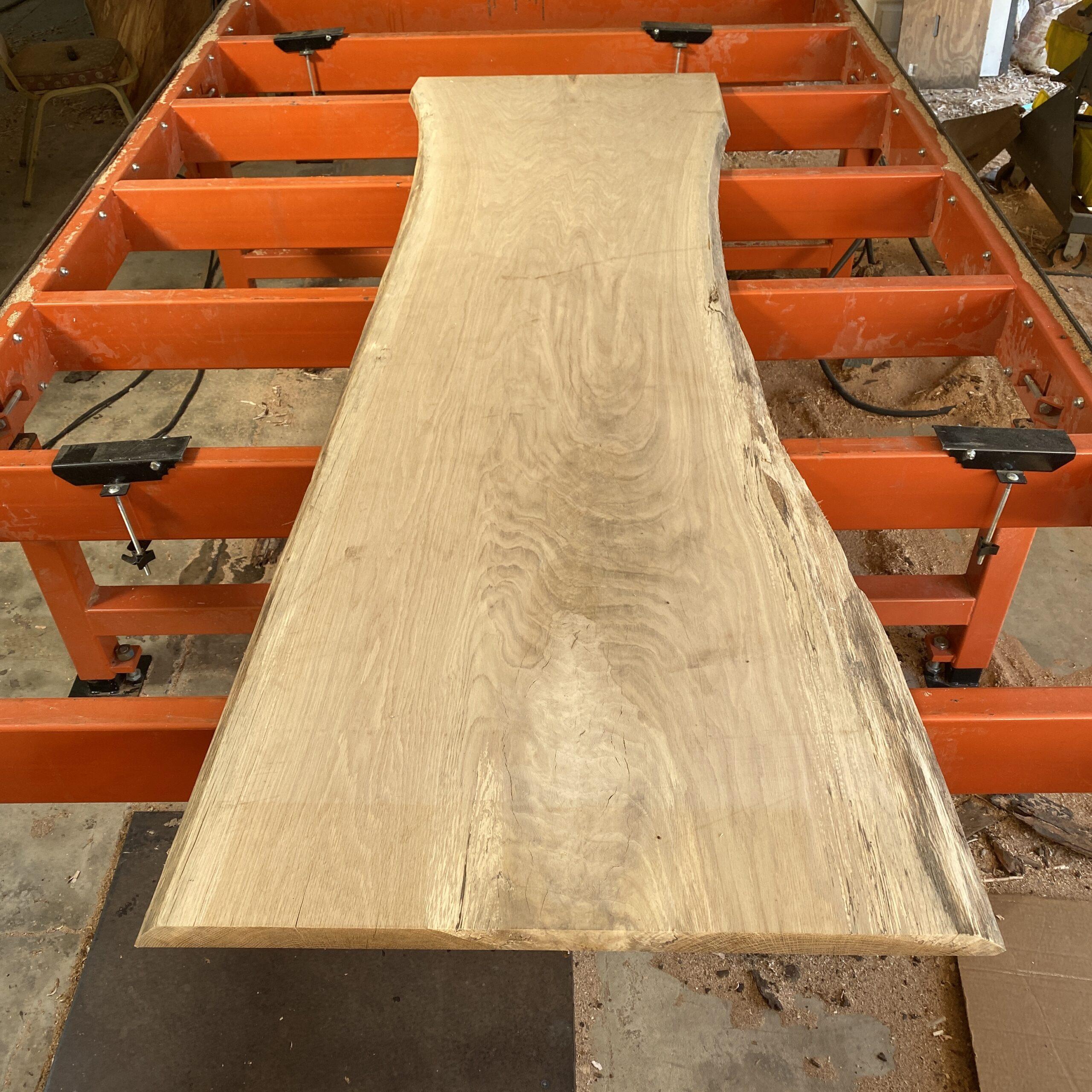 white oak live edge slab