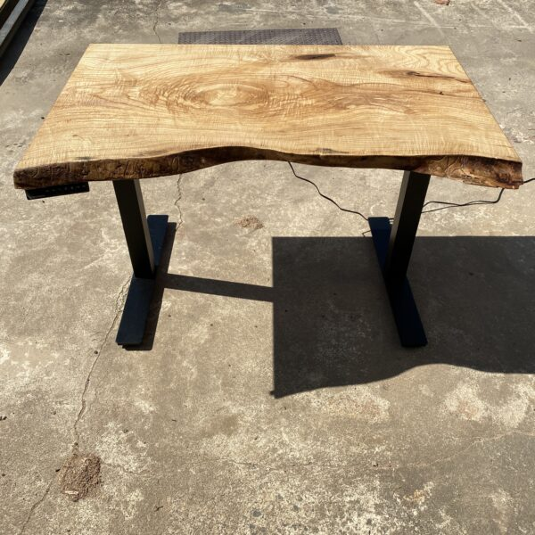 ash standing desk with live edge
