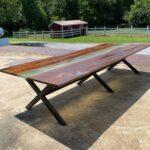 10 foot long river table using a walnut slab