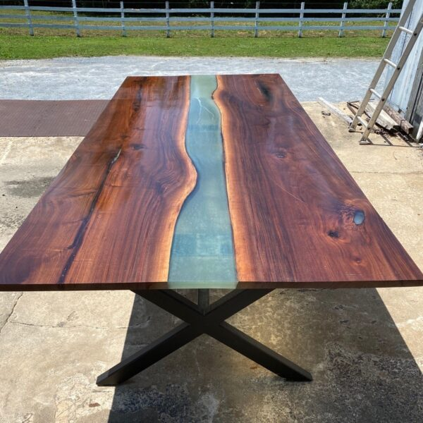 walnut table with epoxy river