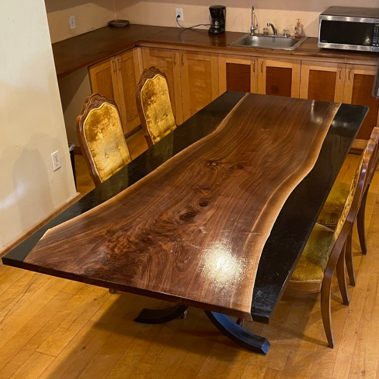 reverse river table with walnut slab