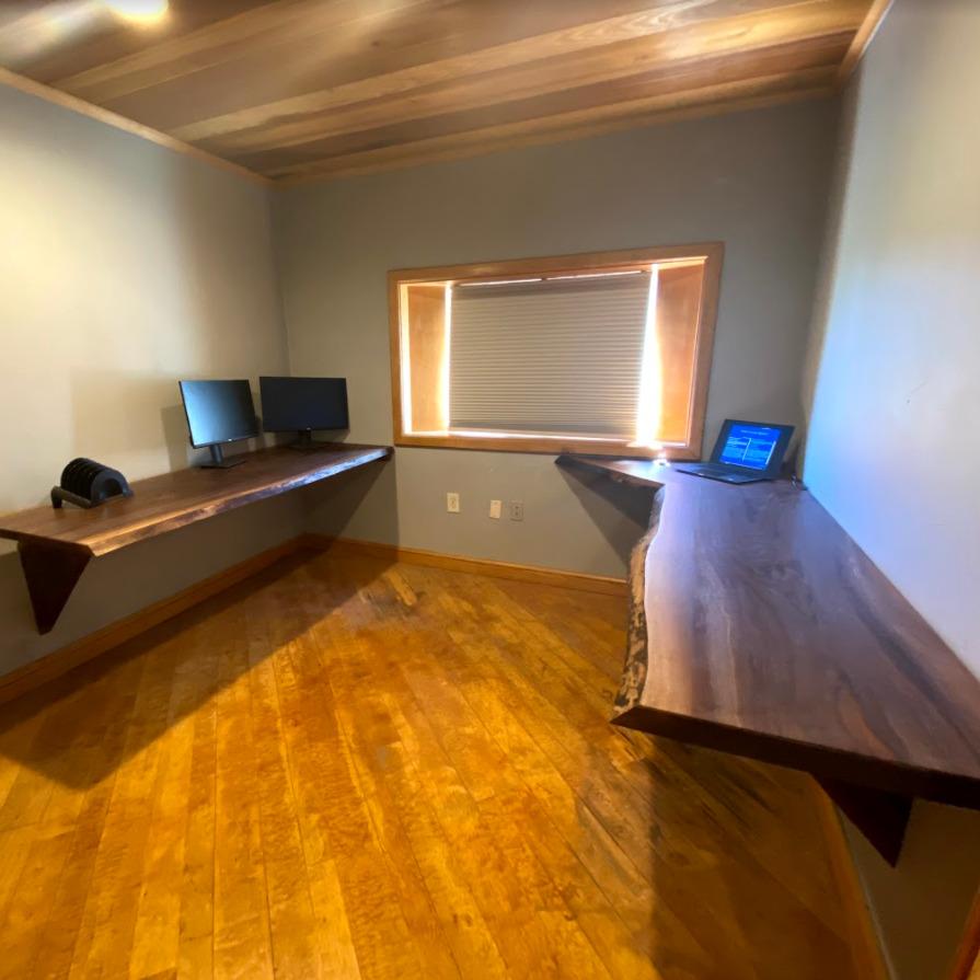 walnut live edge desk in office