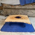 Ash coffee table on hairpin legs with an epoxy pond.