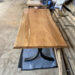 A beautiful 6' sycamore slab as a table top.