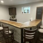 "Sycamore bar top with a ""Sepia Brown"" finish."