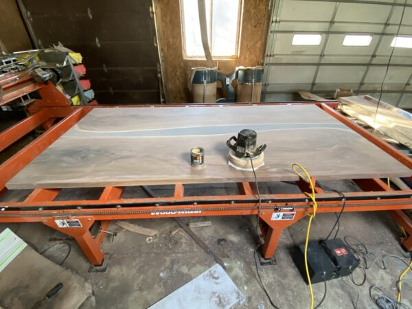 walnut table before it was finished