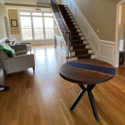 circle walnut river table for foyer