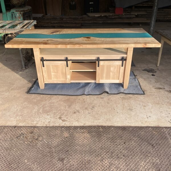 kitchen island with maple epoxy river top