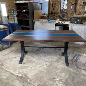 walnut river table aqua epoxy