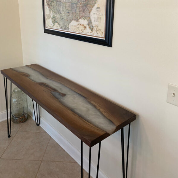 pearl epoxy walnut river entry table